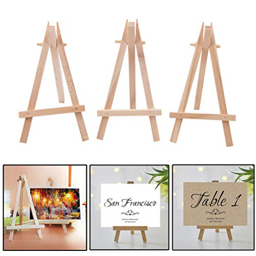 10 x Mini Small Wooden Painting Artist Easel Little Display Stand Table Easels for Party Sign Photo Memo Holder Place Name Card Table Number Holder Stand for Wedding Birthday Baby Shower & Bar Setting]()
