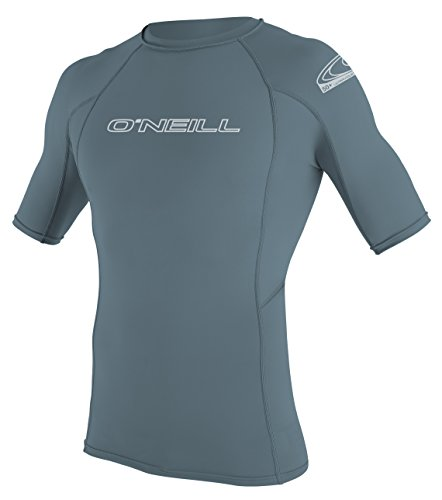 O'Neill Wetsuits UV Sun Protection Mens Basic Skins Short Sleeve Crew Sun Shirt Rash Guard, Dusty Blue, X-Large