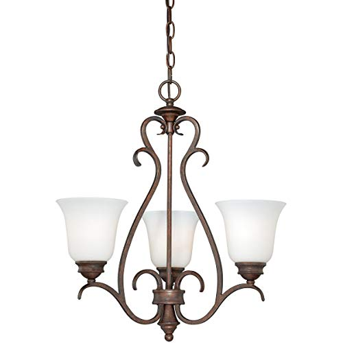 Mini Chandeliers 3 Light Fixtures with Weathered Patina Finish Steel Material Medium 20