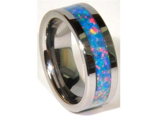8mm Precious Opal Tungsten Carbide Ring with Red/green Inlays (Opal Inlay Ring)