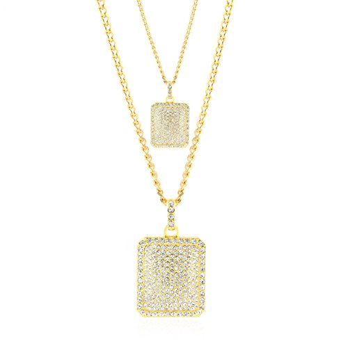 HZMAN Mens Chain Hip hop Iced Out Curb Cuban Gold Plated Dog Tag Pendant Necklace Clear Rhinestones (2 - Hip Hop Chain Rhinestone