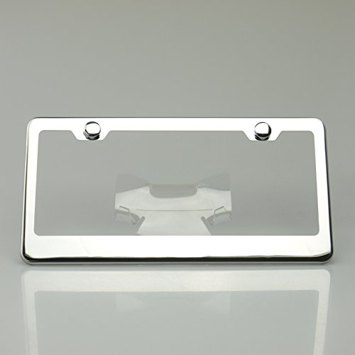 Chrome 100% Stainless Steel Polish Mirror License Plate Frame Holder Tag w/ Chrome Cap by Circle Cool