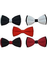 5 Pcs Heymei Men's/Boy's Ajustable Pre-Tied Formal Necktie Bow Tie Jacquard Dots B4 (5(Black Red White))