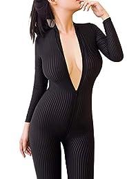 Velius Women's Sexy Front Zipper Stripe Bodysuit Outfit Lingerie Set