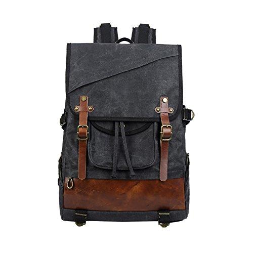 Casual Under Shoulder Inch Notebook Fits Backpack Vintage Negro Daypacks Waterproof Leather VRIKOO Laptop School Bag Canvas 14 xwOPYIpq