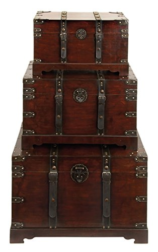 Wood And Leather Antique Style Trunks (Set Of 3) ()
