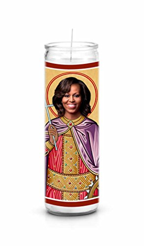 Michelle Obama Celebrity Prayer Candle - Funny Saint Candle - 8 inch Glass Prayer Votive - 100% Handmade in USA - Novelty Celebrity Gift (Michelle Obama)