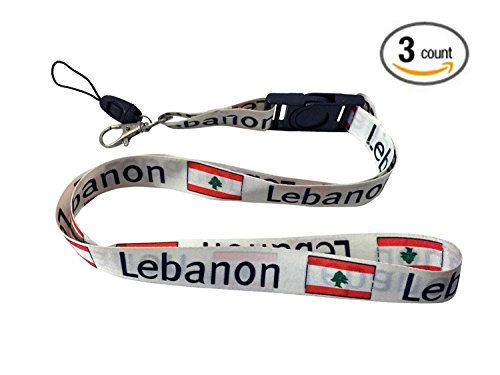 Lanyard Neck Strap Necklace Key Chain Card Badge Holder - Asia and Africa (3-Pack, Country: - Springs Lebanon