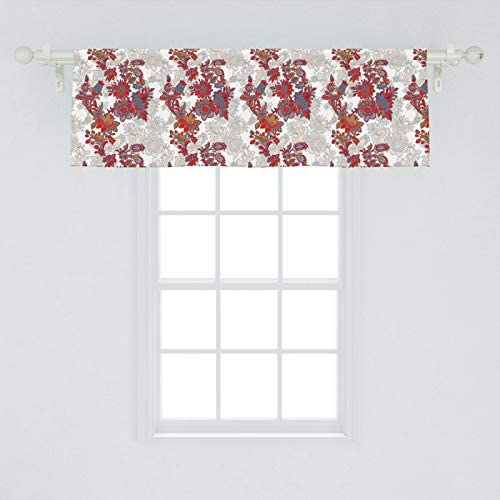 Ambesonne Floral Window Valance, Romantic Boho Style Narcissus Magic Magnolia Rose Vibrant Pattern Print, Curtain Valance for Kitchen Bedroom Decor with Rod Pocket, 54 X 18 , Black Orange Red Grey