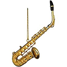 """Musical Instrument Christmas Ornament (4.5"""" Gold Saxophone)"""