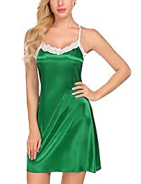 Avidlove Women Sleepwear Satin Nightgown Cami Full Slip Lace Chemise Nightwear