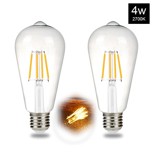 LED Edison Bulb 4W(30W Equivalent) ST64 Vintage Filament Light Bulbs, Warm White 2700K, E26 E27 Medium Base Lamp for Pendant Light, Wall Lamp(2 Pack) - 2 Lite Pendant