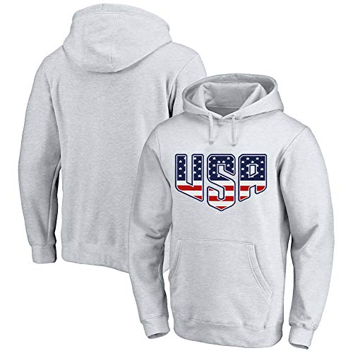 Custom Jersey Hoodies Design Your Own Name and Number USA Flag  Style-Pullover Team Sweatshirts Unisex White