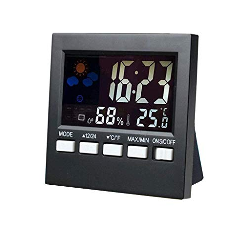 RTYUU Perpetual Calendar Alarm Clock with Backlight Temperature and Humidity Display Clock Multifunctional