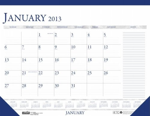 House of Doolittle Two-Color Monthly Desk Pad Calendar with Large Notes Section, 2010 Edition, 22 x 17 Inch, Blue (HOD164)