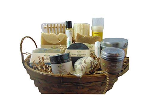 All Natural Deluxe Gift Basket - Soap, Body Butter, Lotion Bar, Lips and Scrub Set
