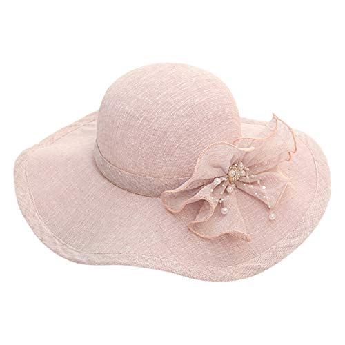 Beauty-OU Hats for Women Sunhat Organza Church Kentucky Derby Fascinator Bridal Tea Party Wedding Bucket Hat Summer Women,Purple,United States]()