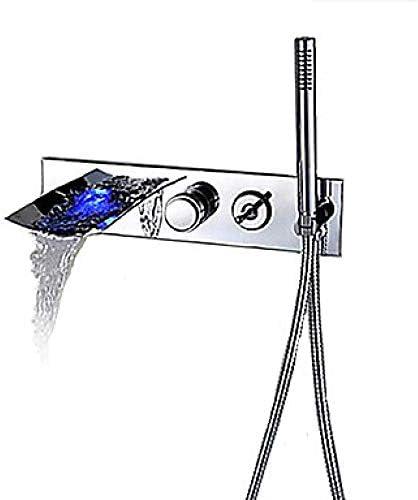 Honana 蛇口, バスルームのシンクは、スロット付き浴室バスタブ蛇口 - 現代クローム壁掛けセラミックバルブバスタブのシャワーの蛇口/LED/含むハンドシャワー/滝/亜鉛合金/ステンレス鋼のタップ キッチン蛇口 混合水栓