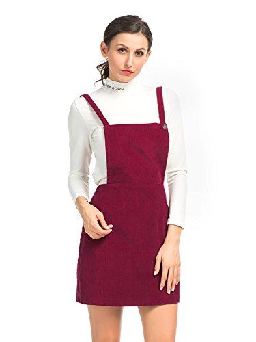 Clothink Women Corduroy Suspender Overall A-line Short Dress Burgundy S