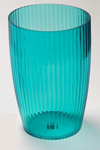 Ben & Jonah Ribbed Acrylic Waste Basket in Cerulean Blue Splash Collection ()