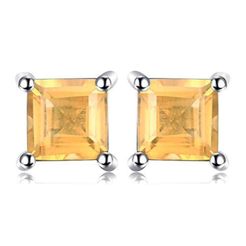 Diamond And Citrine Earrings (Jewelrypalace Square 0.6ct Natural Citrine 925 Sterling Silver Stud Earrings)