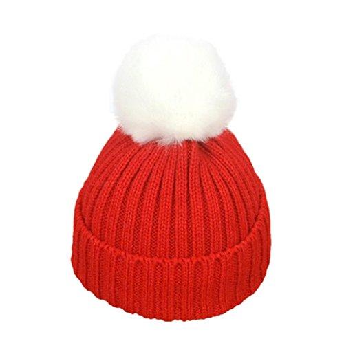CieKen Baby Toddler Beanie Kids Boy Girl Knitted Children's Lovely Soft Hat Cap (Red) (Boys Red Blazer)