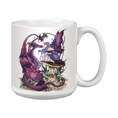 (Tree-Free Greetings XM27585 Amy Brown Artful Jumbo Mug, 20-Ounce, Fantasy the Staring Contest Fairy and Dragon)