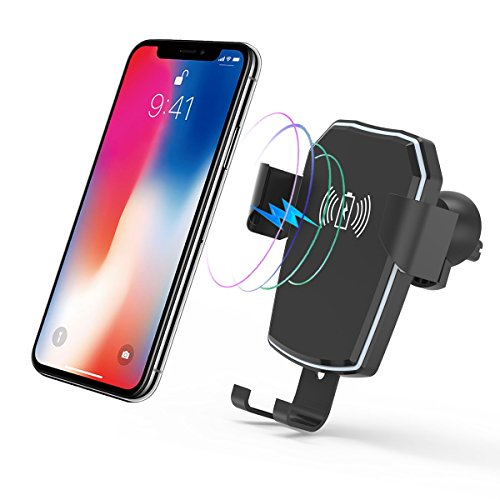 Car Phone Holder Fast Wireless Car Charger Mount Air Vent Phone Holder Compatible for iPhone X/8/8 Plus Galaxy S8/S8+/S7/S7 Edge/S6/S6 Edge, Google Nexus, Huawei and More