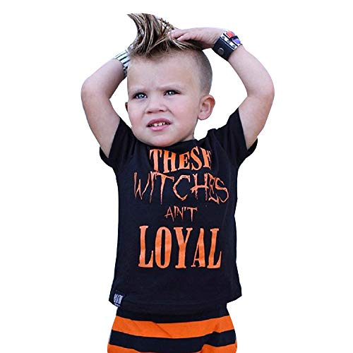 Clearance! iYBUIA Halloween Toddler Kids Baby Boys Letter Shortsleeve Tops Clothes Outfits(Black,80)