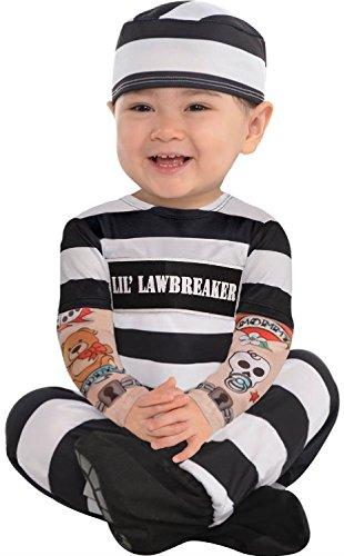 Baby Boys Girls Law Breaker Prisoner Carnival Halloween Black White Fancy Dress Costume Outfit 6-12 Months (6 Months)