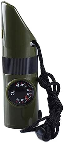 Geshiglobal 7en 1Camping de survie Boussole Thermomètre lampe de poche Loupe Sifflet Outil