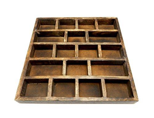 1 (ONE) Crystal Display Wood Tray - Crystal Grid - Crystal Collector Display Organizer (Darken Wood, Checkered) (Wood Grid)