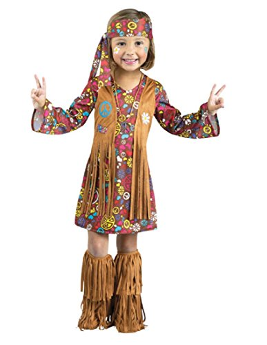 [Fun World Costumes Baby Girl's Peace and Love Hippie Toddler Costume, Brown, Large] (Baby Costumes For Girls)