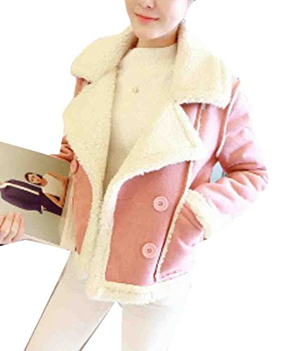 - Rrive Women's Thick Double-Breasted Fleece Lined Faux Suede Jackets Coats Pink XS