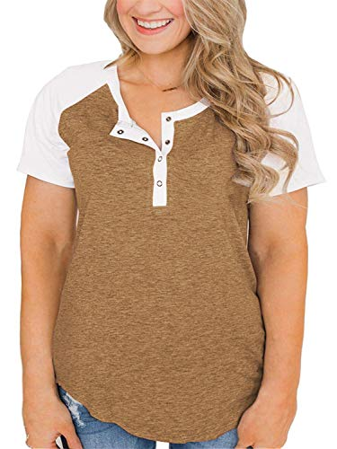 Womens Plus Size Blouses Shirt Short Sleeve Buttons T-Shirt Blouse Tops Khakis 14W ()