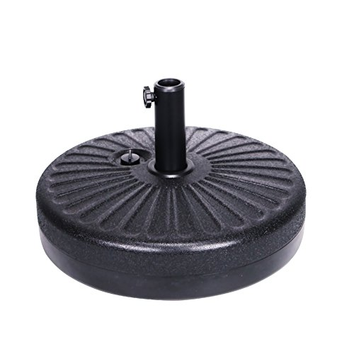 Grand patio Umbrella Base,Eco-Friendly HDPE Fabric Fill with Water 50lbs Umbrella Stand Pole Holder for Garden Lawn Poolside, 20 Inch(Black) ()