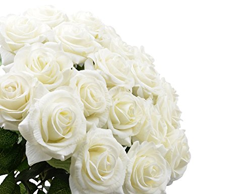 10-Pcs-Real-Touch-Silk-Artificial-Rose-Flowers-Silk-Gluing-PU-Fake-Flower-Home-Decorations-for-Wedding-Party-or-Birthday-Garden-Bridal-Bouquet-Flower-Saint-Valentines-Day-Gifts-Party-EventWhite