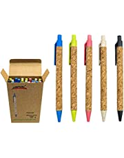 Wheat Straw Pens(30 Pack),Eco Friendly Cork and Recycled Ballpoint Writing Black Ink Sustainable Products Set Pens