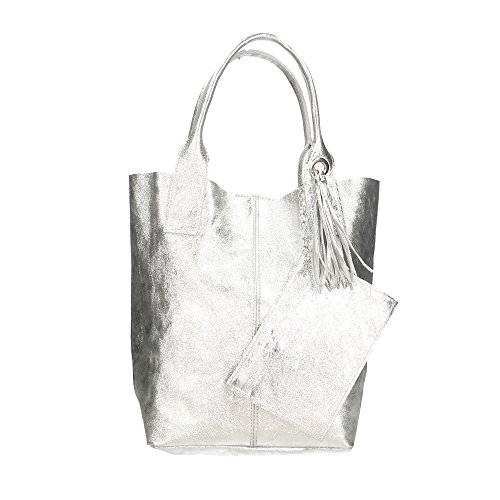 Aren Handbag Borsa a Mano da Donna in Vera Pelle Made in Italy - 42x35x15 Cm Argento