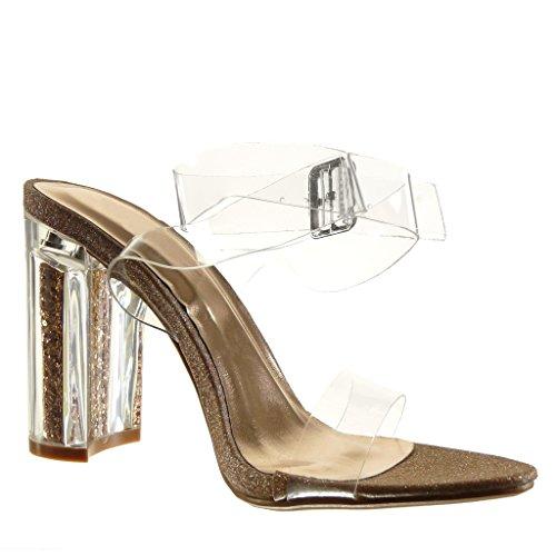 Angkorly - Chaussure Mode Sandale sexy femme transparent pailettes lanière Talon haut bloc 10 CM - Champagne