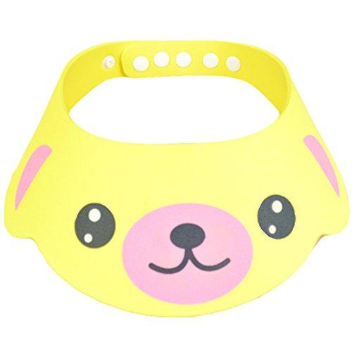 Bath Visor Baby Wash Hair Shield Cap Sun Visor Child Kid Safe Shampoo Shower Bathing Protect Soft Hat (Yellow)
