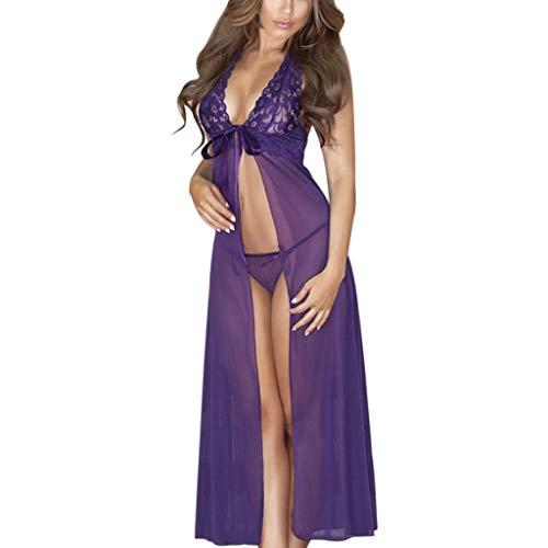 - Womens Lingerie Plus Size Tie Front Lace Babydolls Mesh Halter Babydoll Sleepwear Nightgown Nightwear +G-String Purple