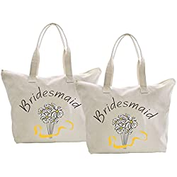 ElegantPark Bridesmaid Tote Bag Daisy for Wedding Gifts Zip Canvas Cotton 2 Pcs