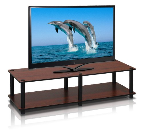 BK Just No Tools Dark Cherry Wide Television Stand with Black Tube (Tube Green Screen)