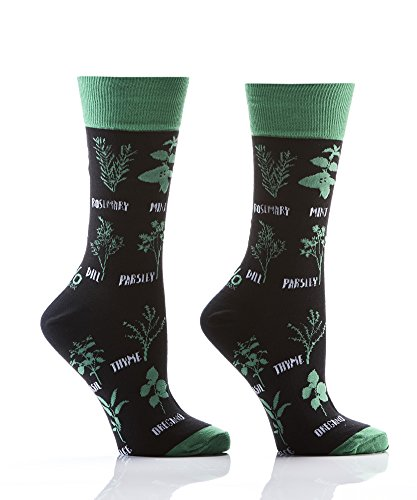 (Know Your Herbs Spices Black Green Cotton Blend Women's Size 6-10 Stretch Crew Socks)