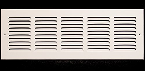 20w X 8h Steel Return Air Grilles - Sidewall and Ceiling - HVAC Duct Cover - White [Outer Dimensions: 21.75w X 9.75h]