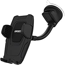 Marsee Car Phone Mount, Windshield Mount / Dashboard Mount Car Phone Holder with Gravity Self-locking One-Touch Design and Anti-skid Base for iOS Android Smartphone,Universal Car Mobile Phone Cradle