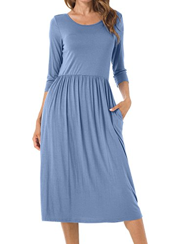 Womens Solid Scoop Neck Pockets Loose Flowy Casual Midi Party Dress Light Blue M