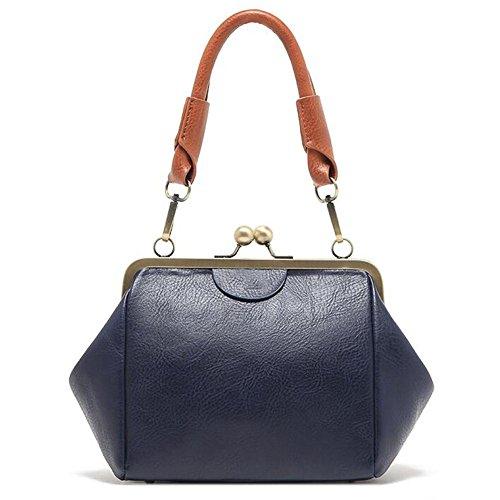 Sacchetto delle signore borsa del sacchetto di spalla bocca del wah della struttura del ferro di retrò cinghia di spalla dell'unità di elaborazione PU blu scuro