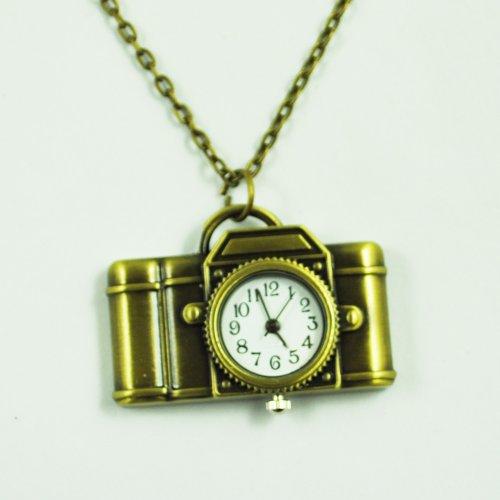 Gleader Vintage Style Camera Pocket Watch Locket Pendant Quartz Long Necklace - Bronze